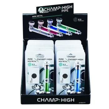 """Metall Pfeife """" Champ """"Auf Blister + 5er Pack Siebe in vers. Farben ca.8,5 cm VE=12 St."""