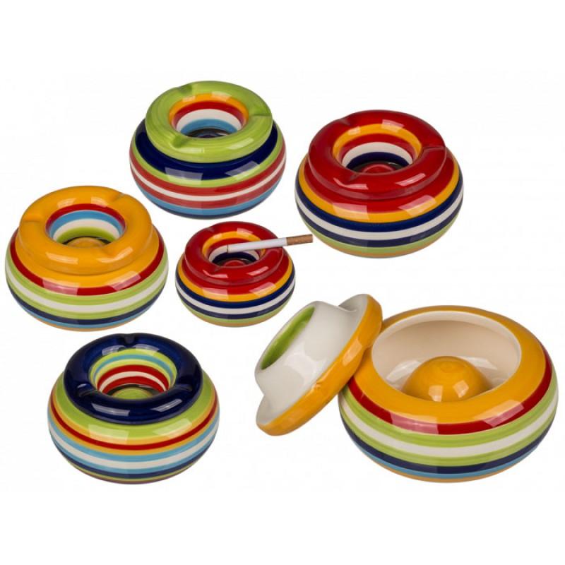 Sturmaschenbecher - Stripes Design - 11x6cm aus Keramik - 4farbig sortiert - VE: 4 Aschenbecher